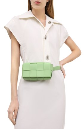 Женская поясная сумка cassette BOTTEGA VENETA светло-зеленого цвета, арт. 639367/VMAY1 | Фото 2