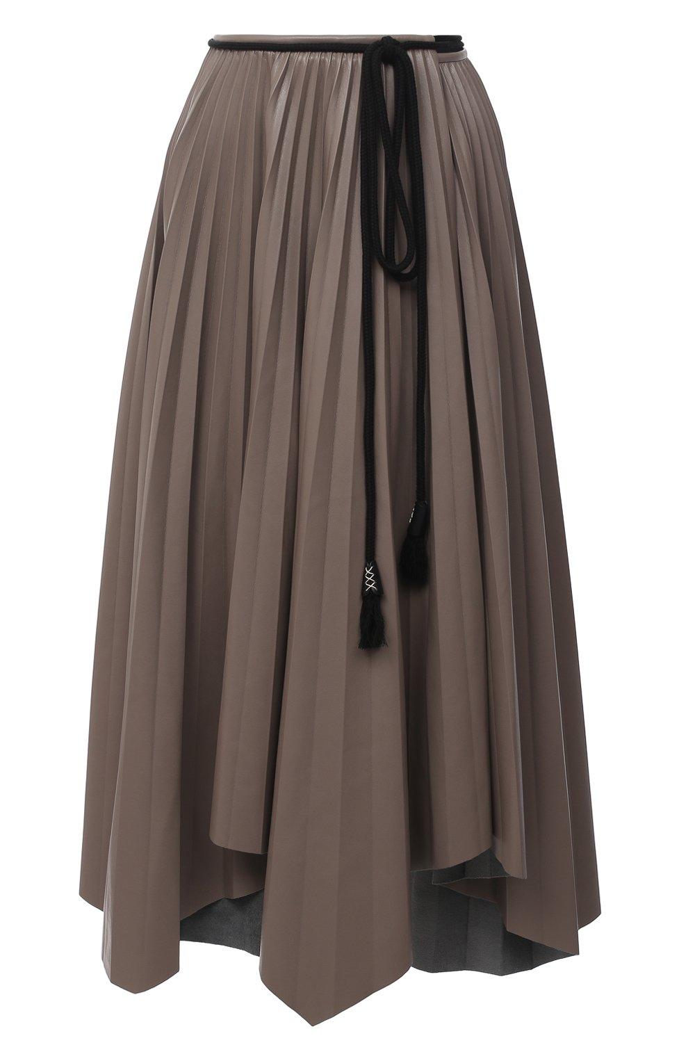 Женская юбка NANUSHKA темно-бежевого цвета, арт. BEEJA_CLAY_SUNRAY PLEAT VEGAN LEATHER   Фото 1