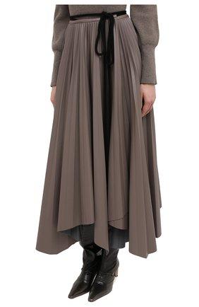 Женская юбка NANUSHKA темно-бежевого цвета, арт. BEEJA_CLAY_SUNRAY PLEAT VEGAN LEATHER   Фото 3