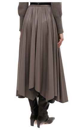 Женская юбка NANUSHKA темно-бежевого цвета, арт. BEEJA_CLAY_SUNRAY PLEAT VEGAN LEATHER   Фото 4