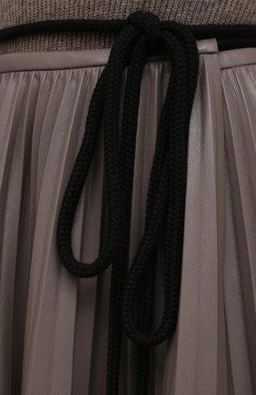 Женская юбка NANUSHKA темно-бежевого цвета, арт. BEEJA_CLAY_SUNRAY PLEAT VEGAN LEATHER   Фото 5