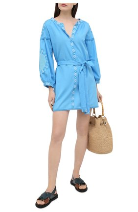 Женское хлопковое платье MELISSA ODABASH голубого цвета, арт. CATHY | Фото 2