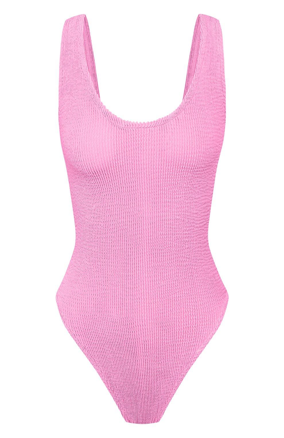 Женский слитный купальник HUNZA G розового цвета, арт. JEANNE SWIM | Фото 1 (Длина Ж (юбки, платья, шорты): Мини; Материал внешний: Синтетический материал; Женское Кросс-КТ: Слитные купальники)