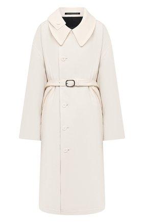 Женское пальто из хлопка и шерсти Y`S черно-белого цвета, арт. YR-C05-800   Фото 1