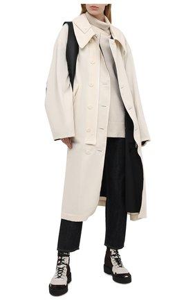 Женское пальто из хлопка и шерсти Y`S черно-белого цвета, арт. YR-C05-800   Фото 2