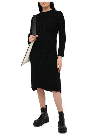 Женское шерстяное платье YOHJI YAMAMOTO черного цвета, арт. FR-K20-195   Фото 2