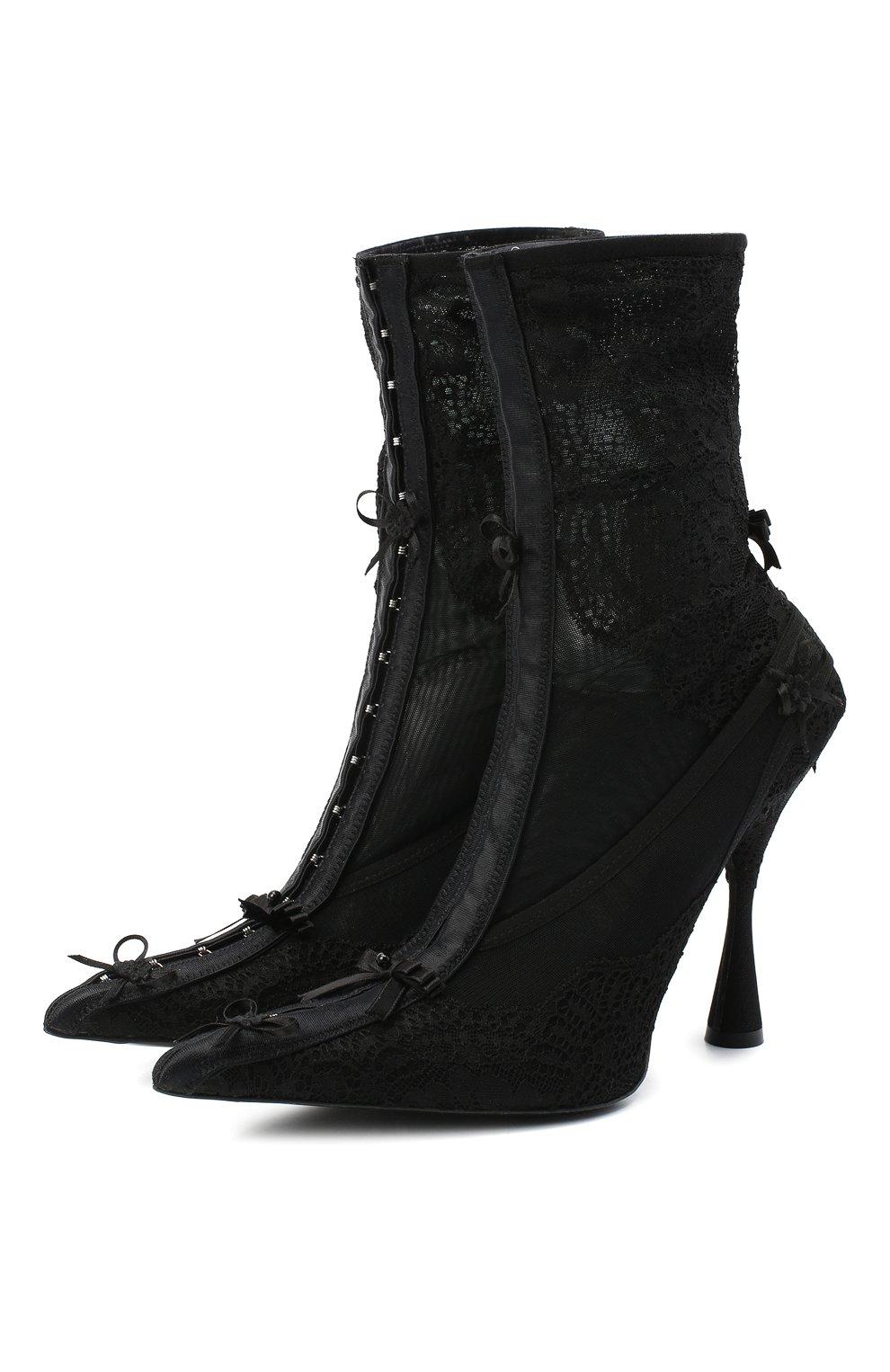 Женские текстильные ботильоны lingerie BALENCIAGA черного цвета, арт. 636793/W2CT1 | Фото 1