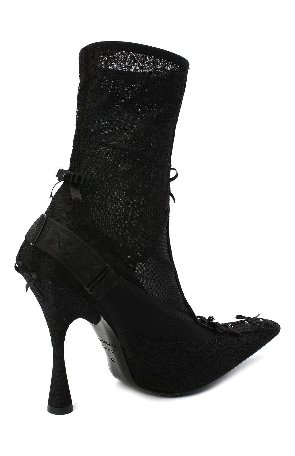 Женские текстильные ботильоны lingerie BALENCIAGA черного цвета, арт. 636793/W2CT1 | Фото 4
