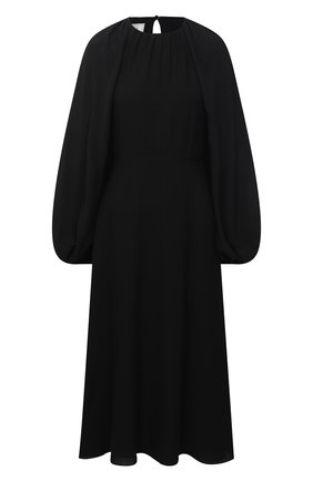 Женское шелковое платье VALENTINO черного цвета, арт. VB3VAUS21MH | Фото 1 (Женское Кросс-КТ: Платье-одежда; Материал подклада: Вискоза; Стили: Романтичный; Рукава: Длинные; Длина Ж (юбки, платья, шорты): Миди; Случай: Вечерний; Материал внешний: Шелк)