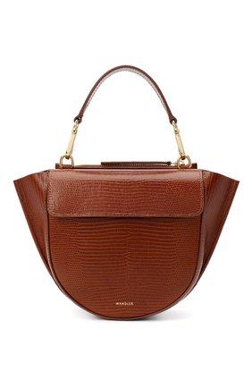 Женская сумка hortensia mini WANDLER коричневого цвета, арт. H0RTENSIA BAG MINI LIZARD   Фото 1 (Сумки-технические: Сумки через плечо, Сумки top-handle; Материал: Натуральная кожа; Размер: mini; Ремень/цепочка: На ремешке)