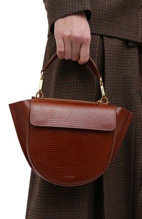 Женская сумка hortensia mini WANDLER коричневого цвета, арт. H0RTENSIA BAG MINI LIZARD   Фото 2 (Сумки-технические: Сумки через плечо, Сумки top-handle; Материал: Натуральная кожа; Размер: mini; Ремень/цепочка: На ремешке)