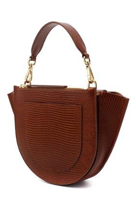 Женская сумка hortensia mini WANDLER коричневого цвета, арт. H0RTENSIA BAG MINI LIZARD   Фото 3 (Сумки-технические: Сумки через плечо, Сумки top-handle; Материал: Натуральная кожа; Размер: mini; Ремень/цепочка: На ремешке)