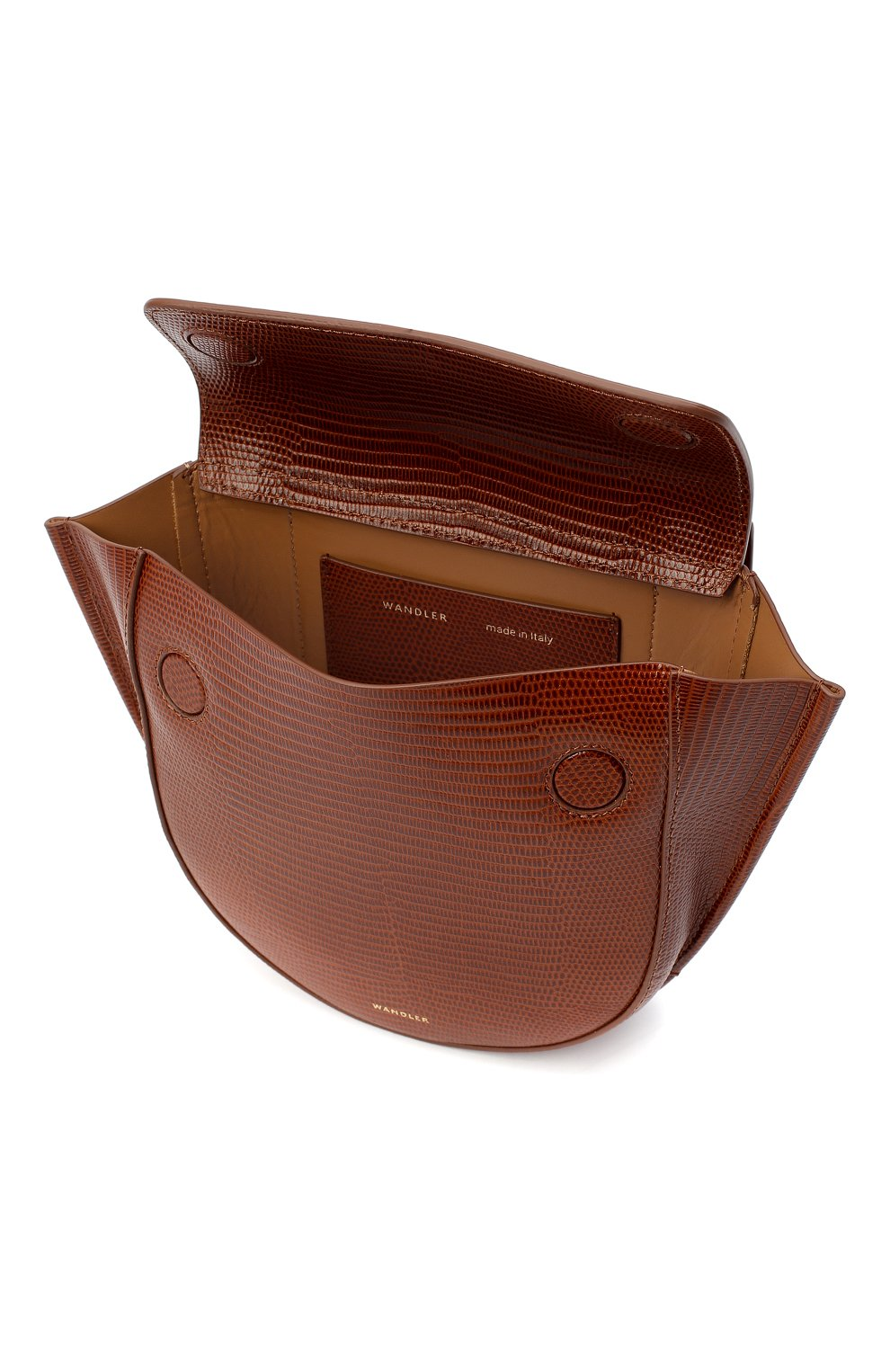 Женская сумка hortensia mini WANDLER коричневого цвета, арт. H0RTENSIA BAG MINI LIZARD   Фото 4 (Сумки-технические: Сумки через плечо, Сумки top-handle; Материал: Натуральная кожа; Размер: mini; Ремень/цепочка: На ремешке)