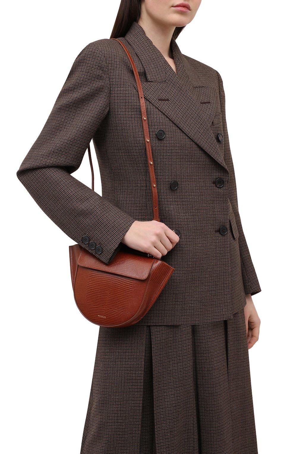 Женская сумка hortensia mini WANDLER коричневого цвета, арт. H0RTENSIA BAG MINI LIZARD   Фото 5 (Сумки-технические: Сумки через плечо, Сумки top-handle; Материал: Натуральная кожа; Размер: mini; Ремень/цепочка: На ремешке)