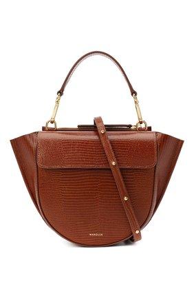 Женская сумка hortensia mini WANDLER коричневого цвета, арт. H0RTENSIA BAG MINI LIZARD   Фото 6 (Сумки-технические: Сумки через плечо, Сумки top-handle; Материал: Натуральная кожа; Размер: mini; Ремень/цепочка: На ремешке)