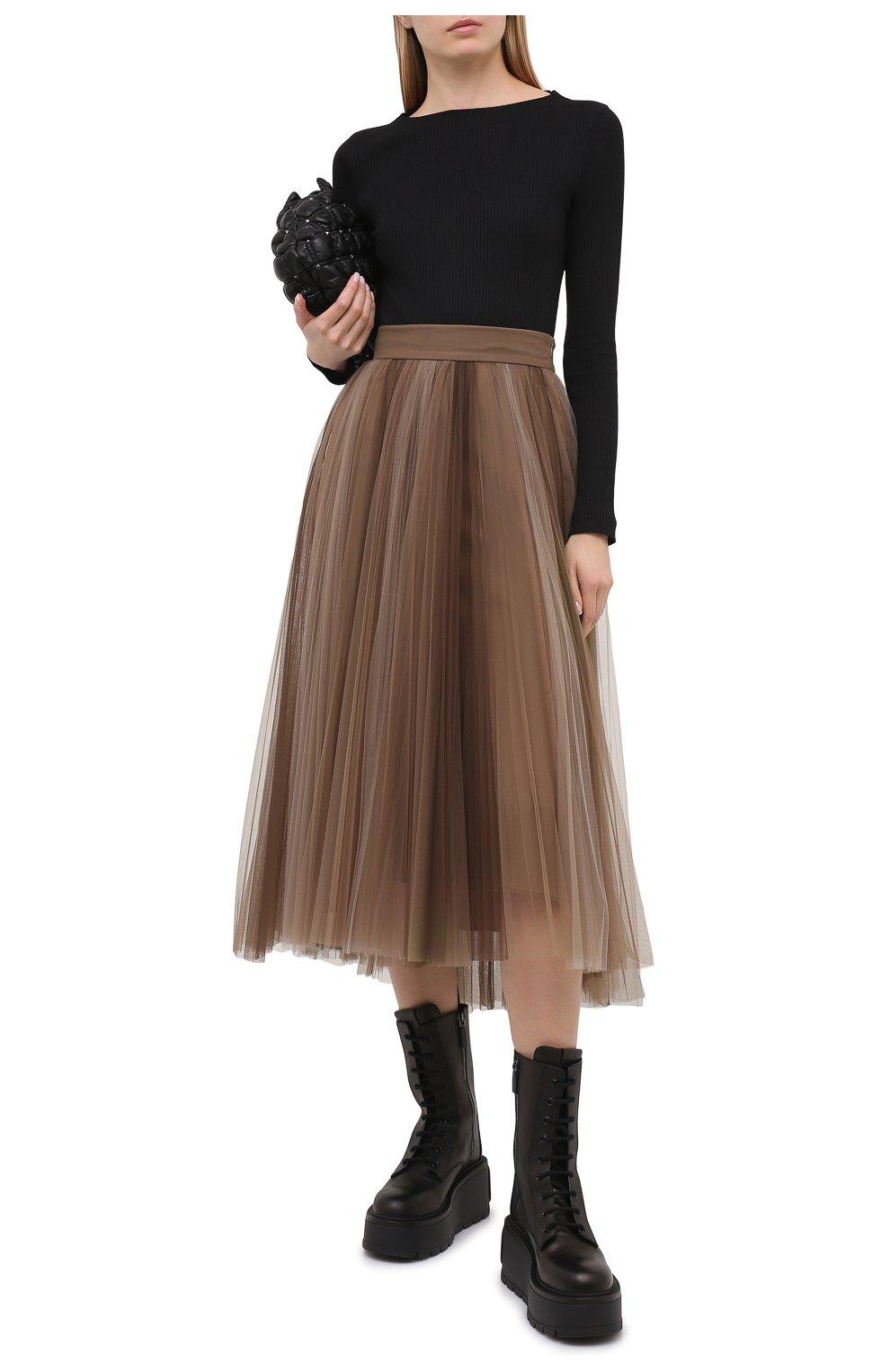 Женская юбка BRUNELLO CUCINELLI коричневого цвета, арт. MA960G3001 | Фото 2