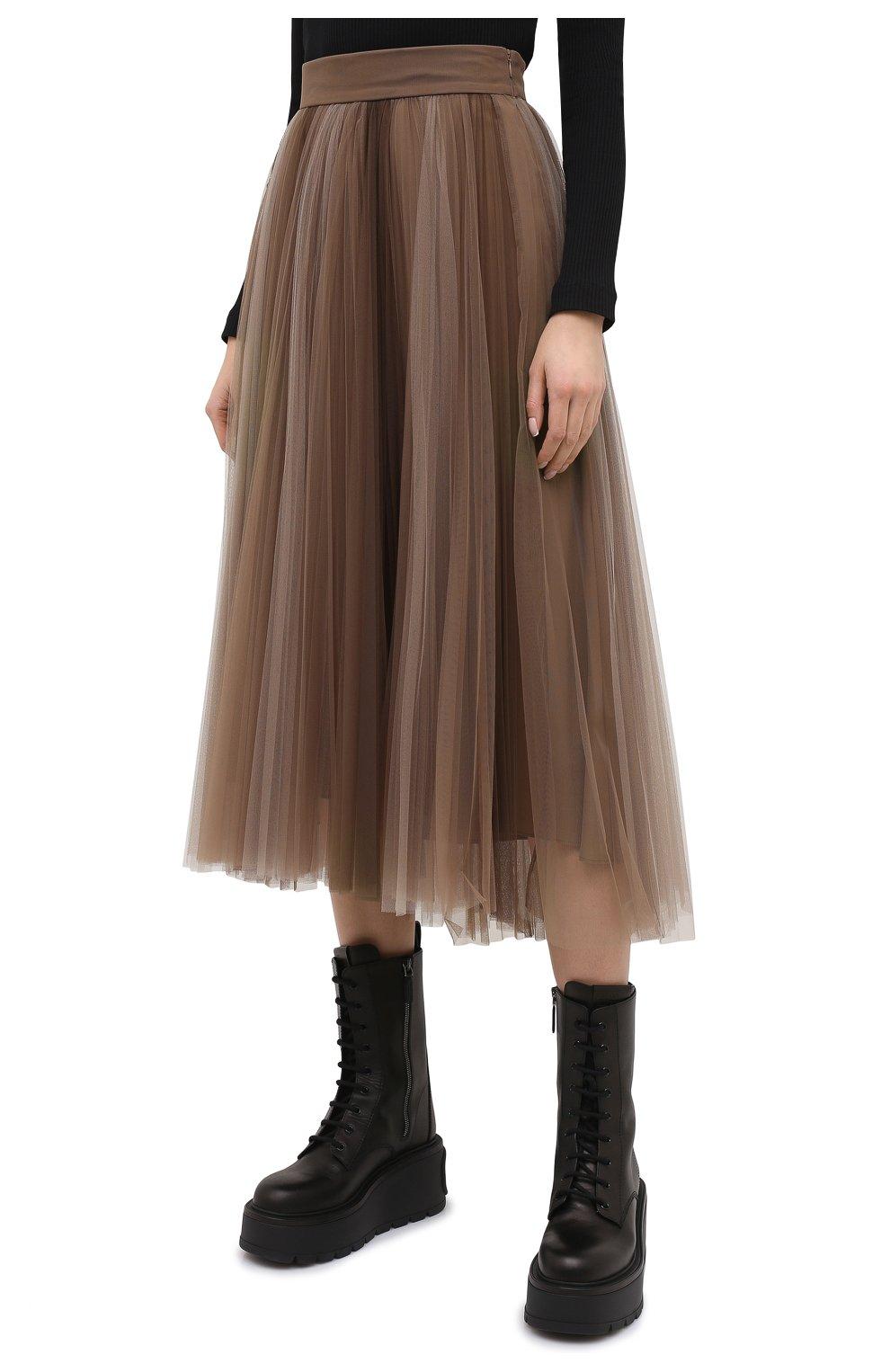 Женская юбка BRUNELLO CUCINELLI коричневого цвета, арт. MA960G3001 | Фото 3