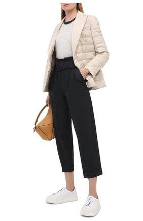 Женские шерстяные брюки BRUNELLO CUCINELLI темно-серого цвета, арт. MA160P7382 | Фото 2