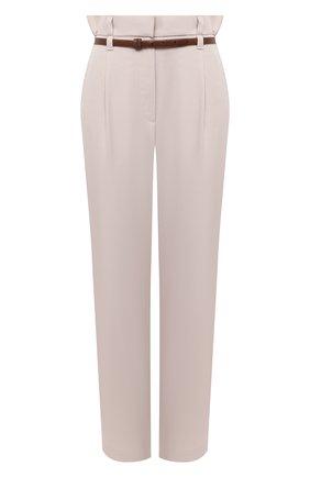 Женские брюки из шерсти и хлопка BRUNELLO CUCINELLI кремвого цвета, арт. MA033P7379 | Фото 1 (Женское Кросс-КТ: Брюки-одежда; Материал внешний: Шерсть; Стили: Кэжуэл; Силуэт Ж (брюки и джинсы): Прямые; Длина (брюки, джинсы): Укороченные)