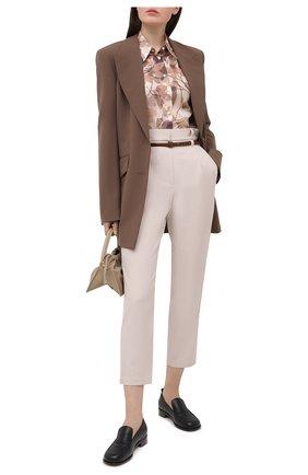 Женские брюки из шерсти и хлопка BRUNELLO CUCINELLI кремвого цвета, арт. MA033P7379 | Фото 2 (Женское Кросс-КТ: Брюки-одежда; Материал внешний: Шерсть; Стили: Кэжуэл; Силуэт Ж (брюки и джинсы): Прямые; Длина (брюки, джинсы): Укороченные)