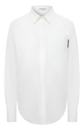 Женская хлопковая рубашка BRUNELLO CUCINELLI белого цвета, арт. M0091MF106 | Фото 1