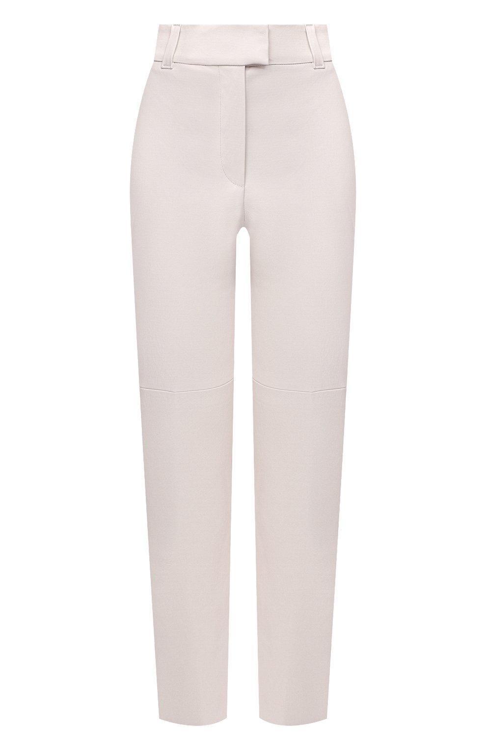 Женские кожаные брюки BRUNELLO CUCINELLI белого цвета, арт. M0V32P7118 | Фото 1