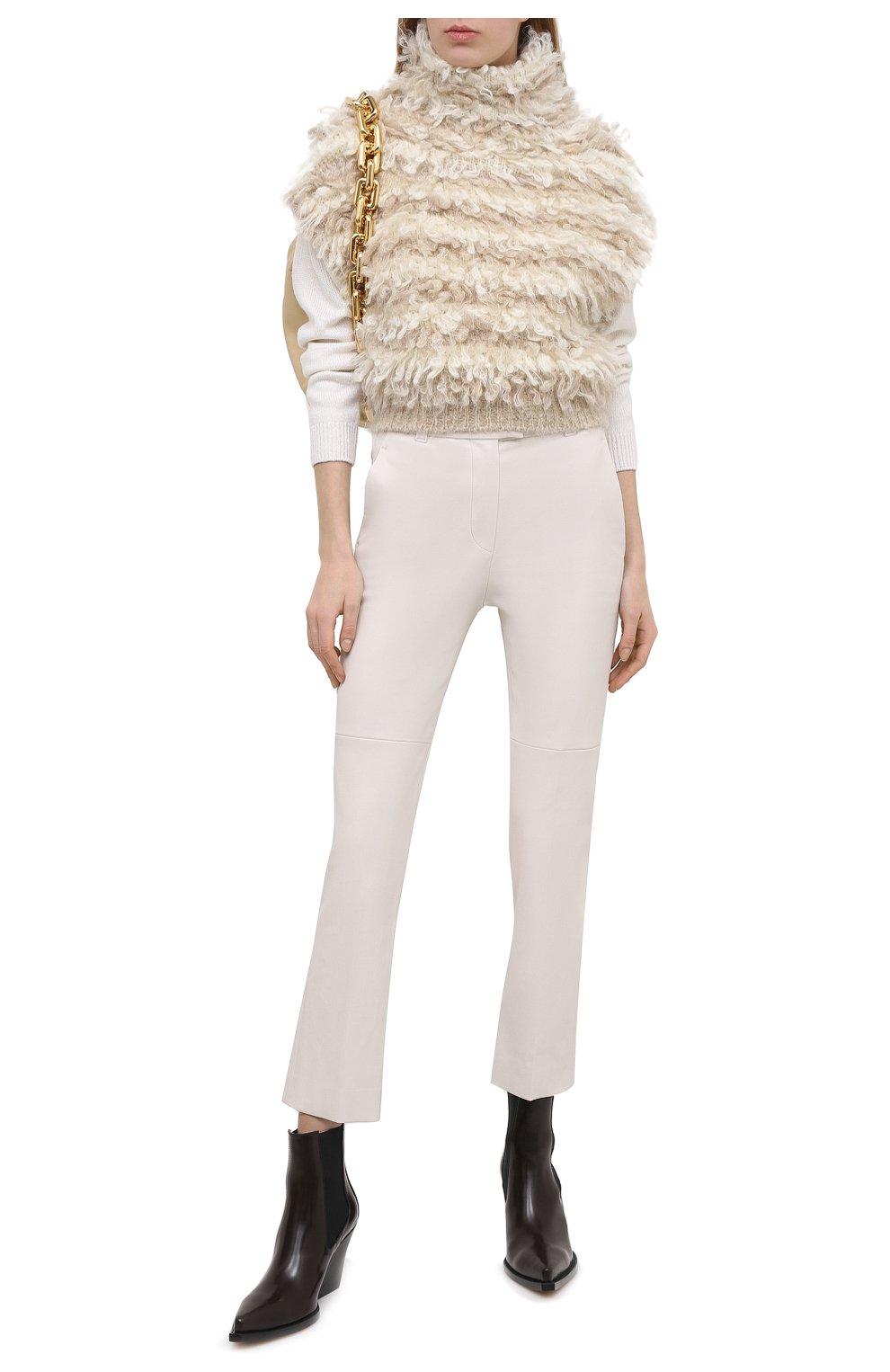 Женские кожаные брюки BRUNELLO CUCINELLI белого цвета, арт. M0V32P7118 | Фото 2
