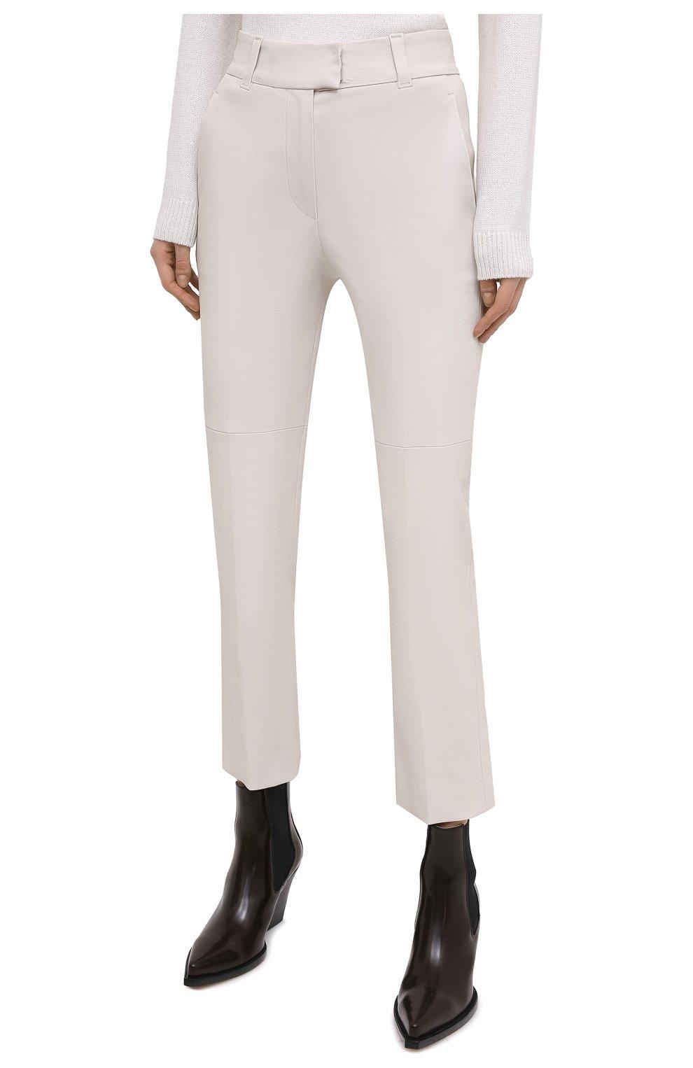 Женские кожаные брюки BRUNELLO CUCINELLI белого цвета, арт. M0V32P7118 | Фото 3