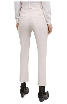 Женские кожаные брюки BRUNELLO CUCINELLI белого цвета, арт. M0V32P7118 | Фото 4