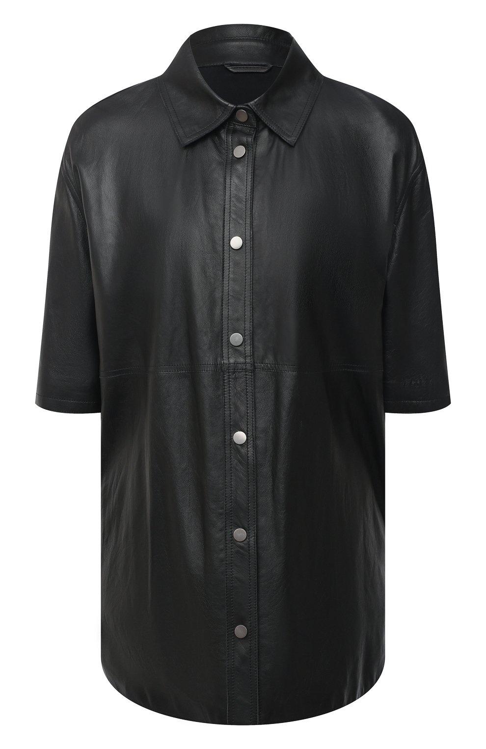 Женская кожаная рубашка BRUNELLO CUCINELLI черного цвета, арт. M0NBGRC106 | Фото 1