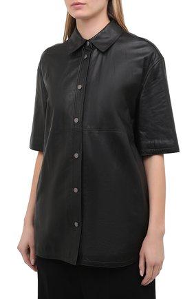Женская кожаная рубашка BRUNELLO CUCINELLI черного цвета, арт. M0NBGRC106 | Фото 3