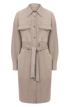 Женское замшевое пальто BRUNELLO CUCINELLI коричневого цвета, арт. M0PCL9450 | Фото 1