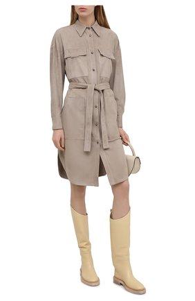 Женское замшевое пальто BRUNELLO CUCINELLI коричневого цвета, арт. M0PCL9450 | Фото 2