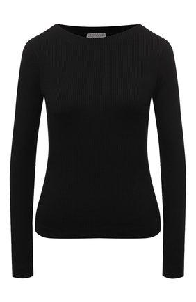 Женский хлопковый пуловер BRUNELLO CUCINELLI черного цвета, арт. MH990BM108 | Фото 1