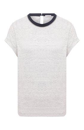 Женская льняная футболка BRUNELLO CUCINELLI светло-серого цвета, арт. MH964HL510 | Фото 1