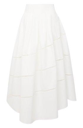 Женская хлопковая юбка BRUNELLO CUCINELLI белого цвета, арт. MH127G3071 | Фото 1