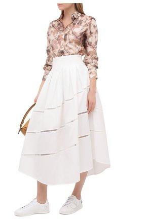 Женская хлопковая юбка BRUNELLO CUCINELLI белого цвета, арт. MH127G3071 | Фото 2