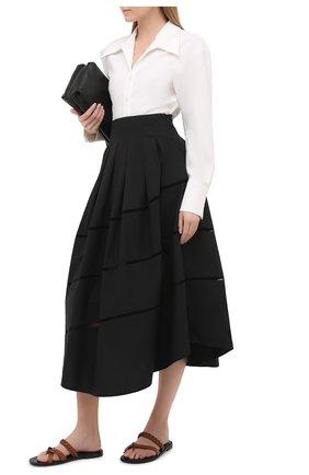 Женская хлопковая юбка BRUNELLO CUCINELLI черного цвета, арт. MH127G3071 | Фото 2