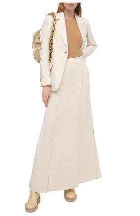 Женская юбка из вискозы и льна BRUNELLO CUCINELLI кремвого цвета, арт. MH126G3075 | Фото 2