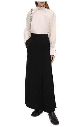 Женская юбка из вискозы и льна BRUNELLO CUCINELLI черного цвета, арт. MH126G3075 | Фото 2