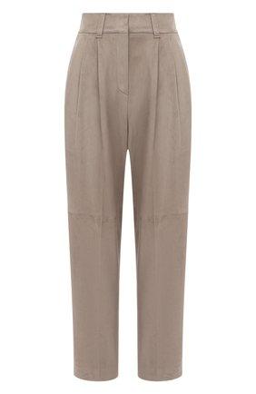 Женские замшевые брюки BRUNELLO CUCINELLI серого цвета, арт. M0PCLP7614 | Фото 1