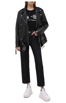 Женская хлопковая футболка DOLCE & GABBANA черного цвета, арт. F8M22Z/G7WVH | Фото 2