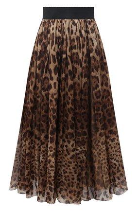 Женская шелковая юбка DOLCE & GABBANA леопардового цвета, арт. F4B0PT/FS1AR | Фото 1