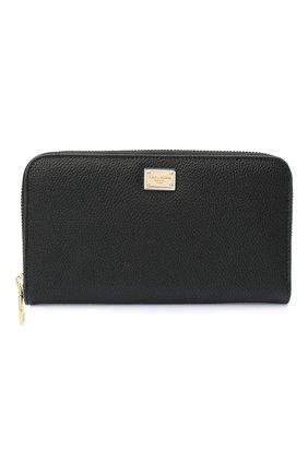 Женские кожаный кошелек DOLCE & GABBANA черного цвета, арт. BI0473/AW737 | Фото 1