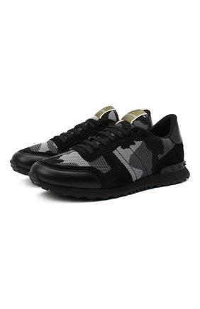 Мужские комбинированные кроссовки rockrunner VALENTINO черного цвета, арт. VY2S0723/QRK | Фото 1