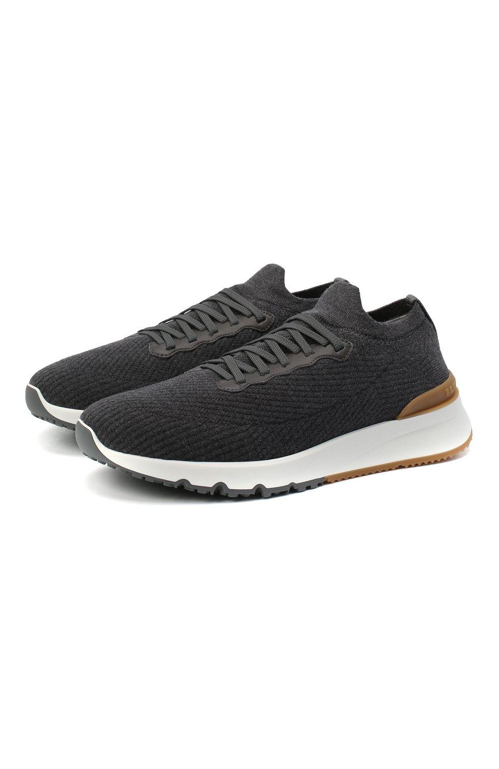 Мужские текстильные кроссовки BRUNELLO CUCINELLI темно-серого цвета, арт. MZUWLB0259   Фото 1