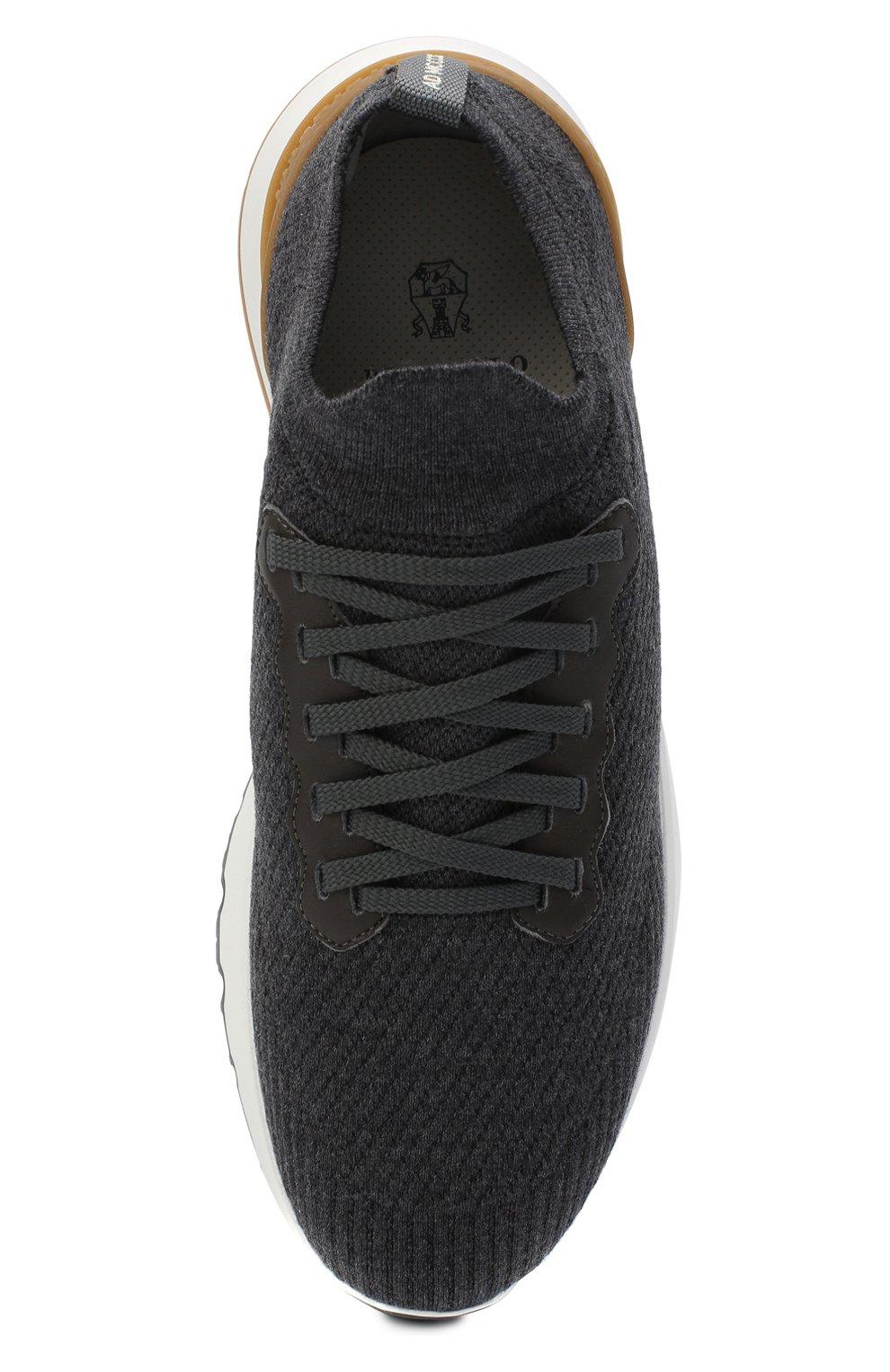 Мужские текстильные кроссовки BRUNELLO CUCINELLI темно-серого цвета, арт. MZUWLB0259   Фото 5