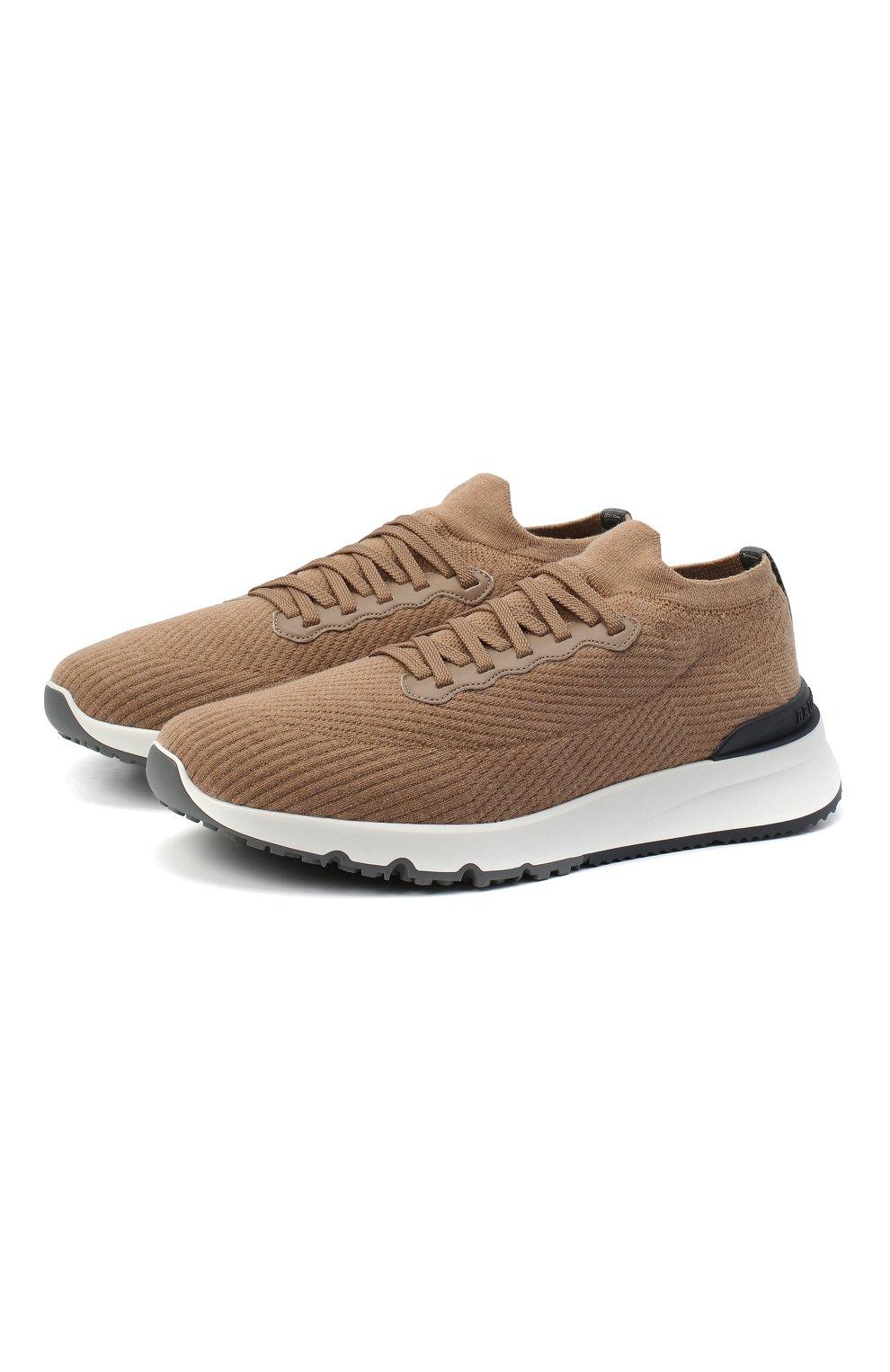Мужские текстильные кроссовки BRUNELLO CUCINELLI бежевого цвета, арт. MZUWLB0259 | Фото 1