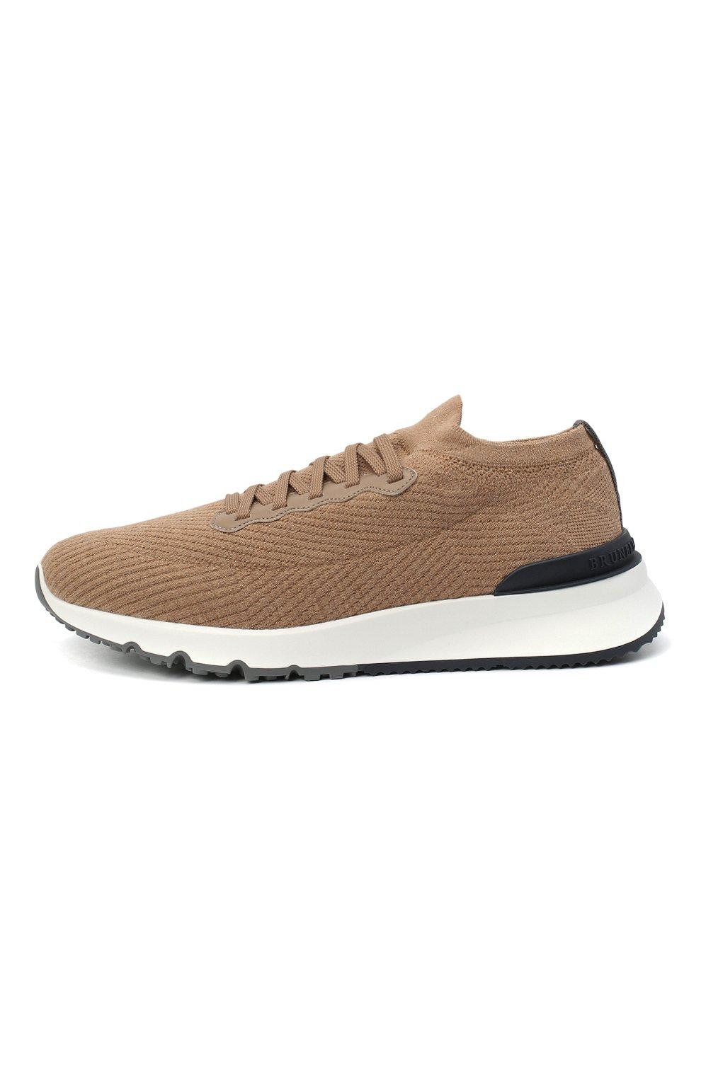 Мужские текстильные кроссовки BRUNELLO CUCINELLI бежевого цвета, арт. MZUWLB0259 | Фото 3