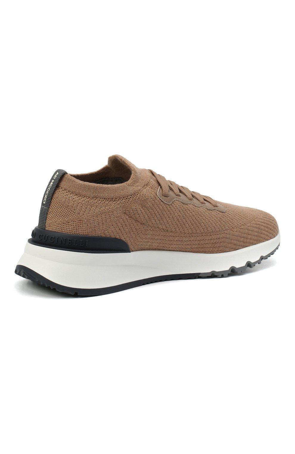 Мужские текстильные кроссовки BRUNELLO CUCINELLI бежевого цвета, арт. MZUWLB0259 | Фото 4
